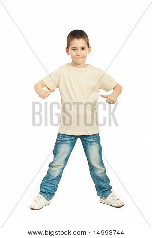Boy In Blank Beige T-shirt