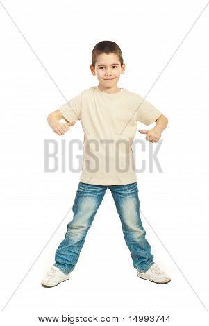Boy In Blank Beige T-shirt