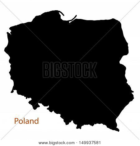 Silhouette map of Poland on a white background