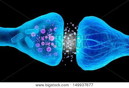 Active receptor macro view isolated on white Medical accurate 3D illustration