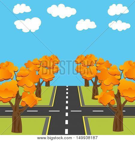 Crossroads equivalent of roads in the future. Alley Autumn oaks. Vector illustration