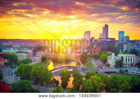Vilnius, Lithuania. Panorama of Vilnius on sunset. View to modern part of Vilnius, capital of Lithuania
