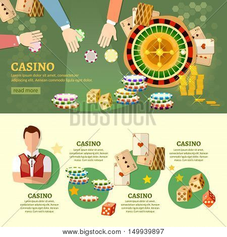 Casino infographics baccarat table people play casino roulette vector illustration