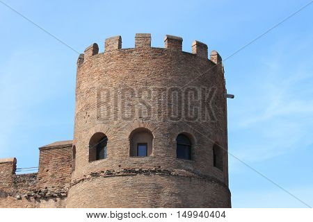 The bastion of a medieval castle in Rome, Italy