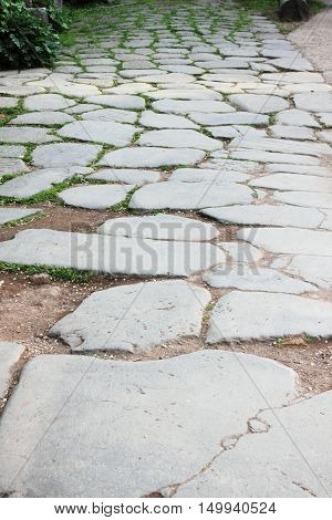 Block pavement in the roman forum of Rome Italy