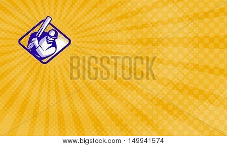 Business card showing Illustration of a cricket player batsman batting retro style.