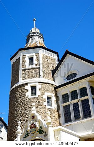 View of the Guildhall tower Lyme Regis Dorset England UK Western Europe.