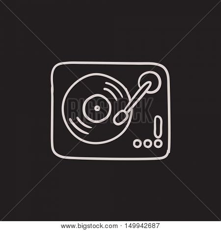 Turntable vector sketch icon isolated on background. Hand drawn Turntable icon. Turntable sketch icon for infographic, website or app.