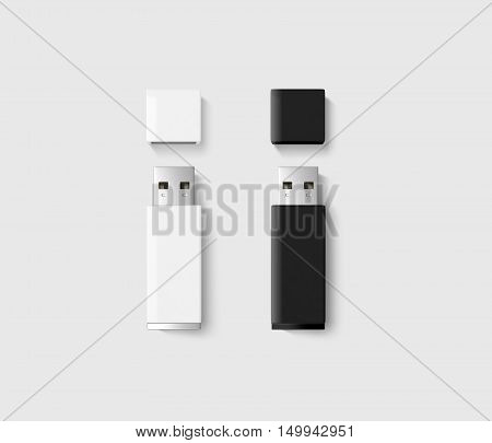 Blank opened usb drive design mockup set black white 3d rendering clipping path. Clear plastic flash disk template with cap. Plain memory device mockup. Clean pen drive branding presentation.