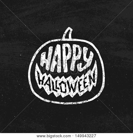 Vintage banner for Halloween celebration with typography and pumpkin shape on black chalkboard. Trick or Treat holiday tradition.