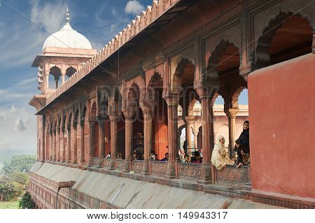 New Delhi, India - February 17, 2015: Architectural detail of Jama Masjid Mosque Old Delhi India. The mosque is the most popular tourist destination in New Delhi, India.