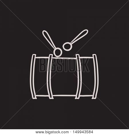 Drum with sticks vector sketch icon isolated on background. Hand drawn Drum with sticks icon. Drum with sticks sketch icon for infographic, website or app.