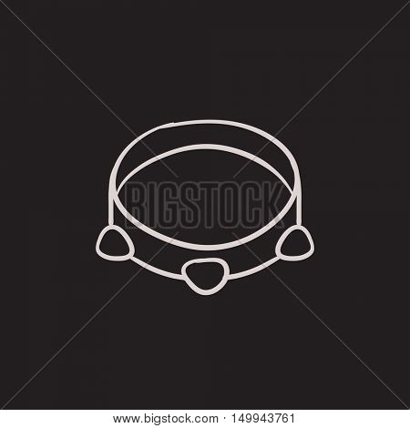 Tambourine vector sketch icon isolated on background. Hand drawn Tambourine icon. Tambourine sketch icon for infographic, website or app.