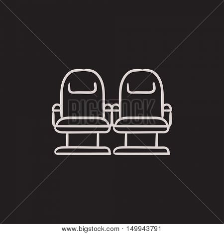Cinema chairs vector sketch icon isolated on background. Hand drawn Cinema chairs icon. Cinema chairs sketch icon for infographic, website or app.