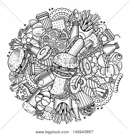 Fast Food Round Design in Outline Hand Drawn Doodle Style with Different Objects on Fast Food Theme. All elements are separated and editable. Vector stock Illustration.