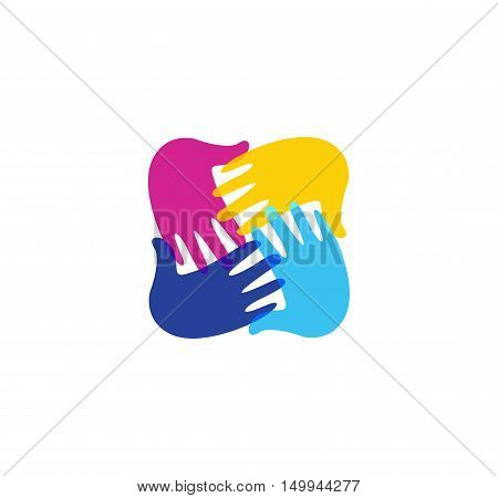 Isolated abstract colorful children hands together logo. Kids playroom logotype. Kindergarten sign. Handprints in paint symbol. Art school emblem. Vector illustration