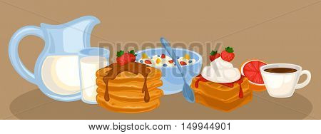 Vector breakfast food set. Icons of healthy food: orange juice, eggs and bacon, croissant, pancakes, cereal and waffles. Cartoon illustration isolated on white.