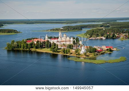 View of the  Nilov Monastery at Lake Seliger