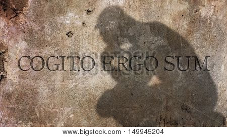 Cogito Ergo Sum. A Latin philosophical proposition that means I think, therefore I am.