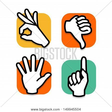 Isolated abstract colorful social network logo set. Human hands, fingers logotypes.Web buttons.Thumb down, ok, pointing finger, give five signs. Dislike, victory, hello symbol. Vector illustration
