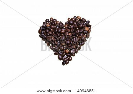 An heart made with brewed coffee beans