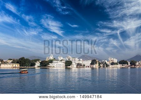 View of lake Pichola, Udaipur, Rajasthan, India