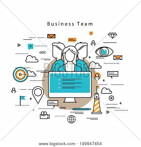 Line flat vector business design and infographic elements for team building and career concept, job recruitment, evaluation, interviewing, assessment, hiring, resources and corporate management