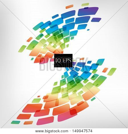 Abstract background, colorful geometric square elenents on white background