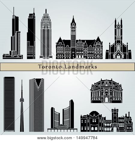 Toronto landmarks and monuments isolated on blue background in editable vector file