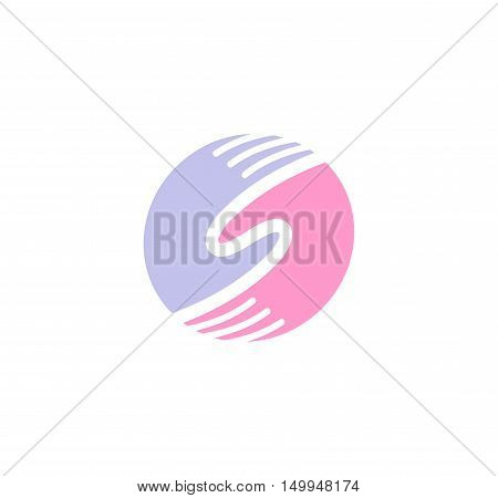Isolated abstract round shape blue and pink color human hands together logo. Man and woman palms logotype. Eternal love sign. Marriage agency emblem. Global dating site icon. Vector illustration