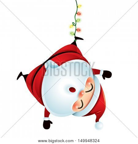 Santa Claus hanging upside down