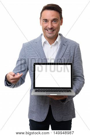 Businessman Presenting Something On Blank Laptop Screen