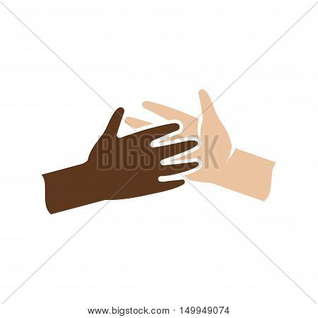 Isolated abstract dark and light skin human hands together logo. Black and white people friendship logotype. Give five gesture. Interracial help sign. Equal rights symbol. Vector illustration