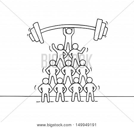 Cartoon pyramid of working little people. Doodle cute miniature teamwork with barbbell up. Hand drawn vector illustration for business an financial design.