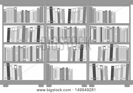 Set of bookcases and shelves. Vector ilustration.