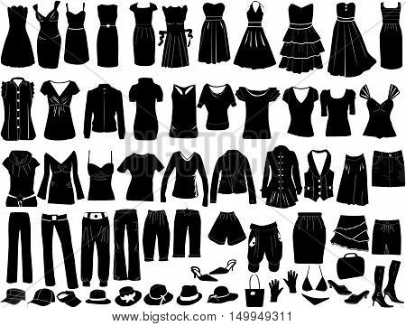 Evening dresses and accessories , vector ilustration .