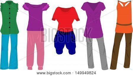 Women's fashion - clothes. Women's clothes set, vector illustration.