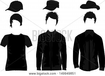 Men's Fashion, A set of men's clothing. Vector illustration.