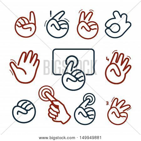 Isolated abstract social network logo set. Human hands and fingers logotypes.Website buttons collection.Ok, peace, give five, pointing finger, fist signs. Victory, hello symbol. Vector illustration