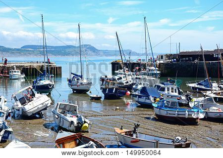 LYME REGIS, UNITED KINGDOM - JULY 18, 2016 - Boats and yachts moored in the harbour with views towards the coastline Lyme Regis Dorset England UK Western Europe, July 18, 2016.