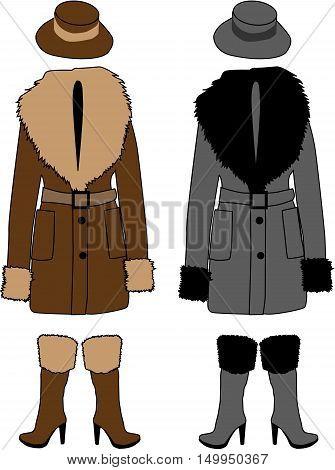 Sheepskin coat. Women's clothes set, vector illustration.