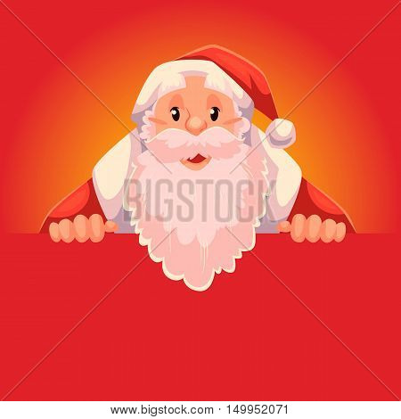 Santa Claus holding a sign with a place for text, cartoon style vector illustration isolated on red background. Half length portrait of Santa holding an empty board, Christmas decoration element