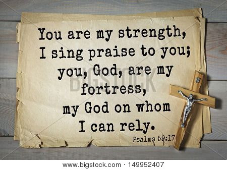 TOP-1000. Bible verses from Psalms.You are my strength, I sing praise to you; you, God, are my fortress, my God on whom I can rely.