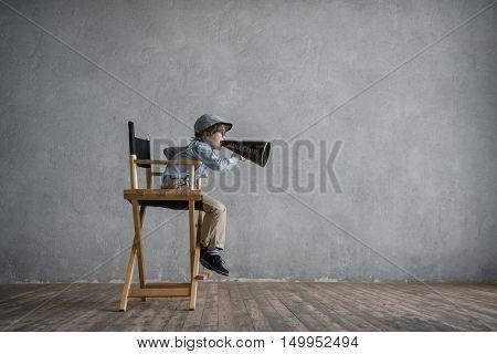 Screaming director in studio