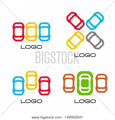Set of colorful vector devices. Simple mobile contour. Cars silhouette. Parking area sign. Road element.Mechanic service. Vehicles emblem. Car insurance logo. Cars vector illustration