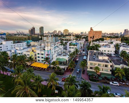 Aerial view of Ocean Drive and South beach, Miami, Florida, USA.