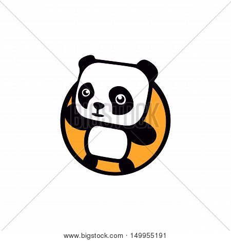Fun, children, isolated, geek, cute, personalized panda waving paw.Round shape, cartoon, contour stylized logotype. Orange logo template.Asian bear, kids toy, element logo. Panda vector illustration