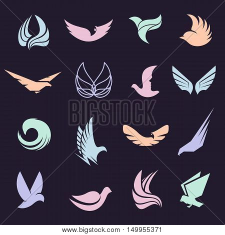 Isolated abstract colorful birds and butterflies wings with feathers logo set on black background. Flight logotype collection. Air icons. Vector birds illustration. Eagle, pigeon, hawk silhouette