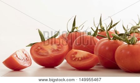 very fresh tomato on white back ground