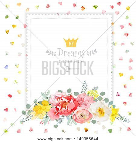 Square vector design frame with bouquet of wild rose ranunculus daffodil narcissus carnation and eucaliptus leaves. Multicolor hearts confetti backdrop. All elements are isolated and editable.